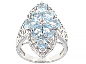 Sky Blue Topaz Rhodium Over Sterling Silver Ring 3.72ctw