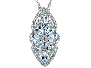 Sky Blue Topaz Rhodium Over Sterling Silver Pendant With Chain 3.72ctw