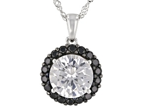 White Lab Created Sapphire Rhodium Over Sterling Silver Pendant With Chain 3.61ctw