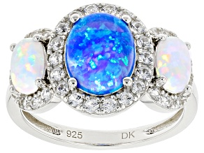 Blue Lab Created Opal Rhodium Over Sterling Silver Ring 0.65ctw