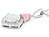Lab Created White Opal Rhodium Over Silver Pendant with Chain 0.26ctw