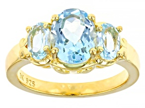 Sky Blue Topaz 18k Yellow Gold Over Sterling Silver 3-Stone Ring 2.95ctw