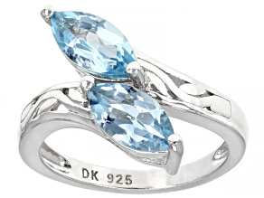 Sky Blue Topaz Rhodium Over Sterling Silver Bypass Ring 2.04ctw