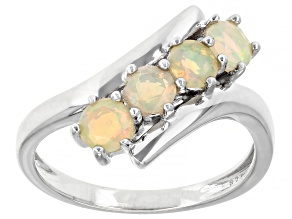 Multi-Color Ethiopian Opal Rhodium Over Sterling Silver By-Pass Ring 0.65ctw