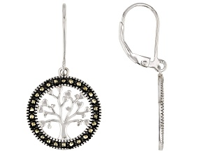 """Gray Marcasite Rhodium Over Sterling Silver """"Tree of Life"""" Dangle Earrings"""
