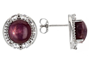 Red Star Ruby Rhodium Over Sterling Silver Earrings 9.02ctw