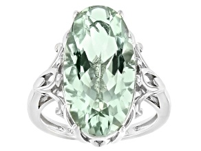 Green Prasiolite Rhodium Over Sterling Silver Solitaire Ring 7.82ct