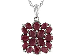 Red Indian Ruby Rhodium Over Sterling Silver Pendant With Chain. 4.84ctw