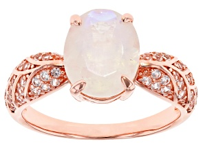 White Rainbow Moonstone 18k Rose Gold Over Silver Ring 0.31ctw