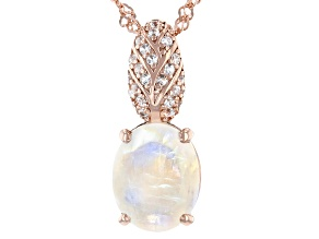 White Rainbow Moonstone 18k Rose Gold Over Silver Pendant Chain 0.16ctw