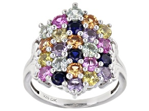 Multi-Color Lab Created Sapphire Rhodium Over Sterling Silver Ring 2.86ctw