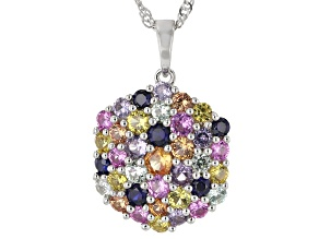 Multi-Color Lab Created Sapphire Rhodium Over Sterling Silver Pendant With Chain 2.88ctw