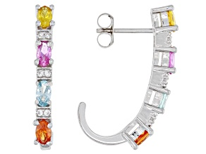 Multi-Color Lab Created Sapphire Rhodium Over Sterling Silver Earrings 1.90ctw