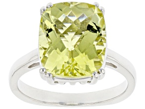 Canary Yellow Quartz Rhodium Over Sterling Silver Solitaire Ring 4.5ct