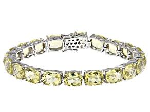 Yellow Quartz Rhodium Over Sterling Silver Bracelet. 53.55ctw