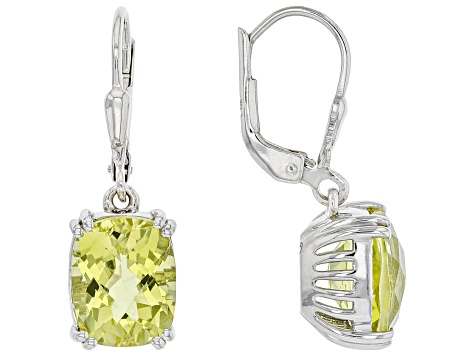 Canary Yellow Quartz Rhodium Over Sterling Silver Solitaire Earrings 5.36ctw