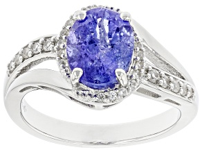 Blue Tanzanite Rhodium Over Sterling Silver Ring 1.80ctw