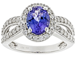 Blue Tanzanite Rhodium Over Sterling Silver Ring 2.22ctw
