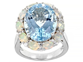 Blue Topaz Rhodium Over Silver Ring 11.29ctw