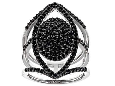 Black Spinel Rhodium Over Sterling Silver Ring. 1.40ctw