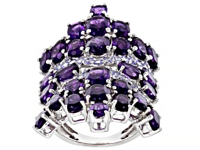 Purple Amethyst Rhodium Over Sterling Silver Ring 12.01ctw