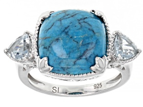 Blue Turquoise Rhodium Over Sterling Silver Ring 0.81ctw