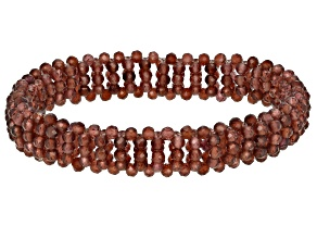 Red Garnet Beaded Stretchable Bracelet