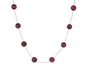 Pink Tigers Eye With White Opal Endless Strand Beaded Necklace