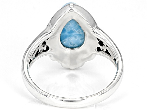 Blue Larimar Solitaire Rhodium Over Sterling Silver Ring