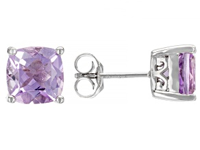 Lavender Amethyst Rhodium Over Sterling Silver Solitaire Stud Earrings 3.52ctw