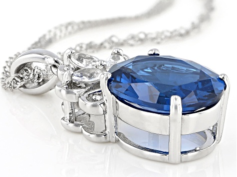Blue Lab Created Spinel Rhodium Over Silver Pendant With Chain 4.58ctw