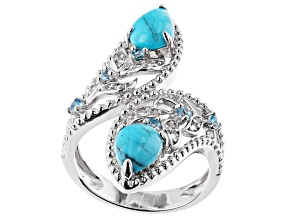 Blue Turquoise Rhodium Over Silver Bypass Ring 0.34ctw