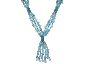 Blue Aquamarine  Rhodium Over Sterling Silver Beaded Necklace