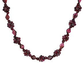 Red Garnet Rhodium Over Sterling Silver Beaded Necklace