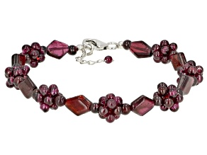 Red Garnet Rhodium Over Sterling Silver Beaded Bracelet