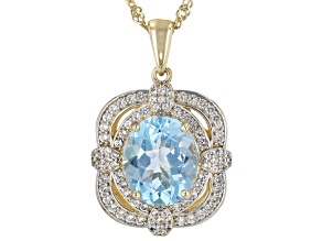 Sky Blue Topaz 18k Yellow Gold Over Silver Pendant With Chain 5.49ctw