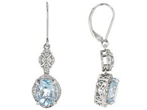 Blue Topaz Rhodium Over Silver Dangle Earrings