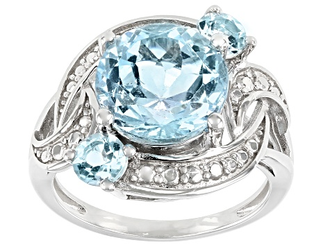 Blue Topaz Rhodium Over Sterling Silver Ring 4.64ctw