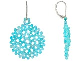 Blue Amazonite Rhodium Over Sterling Silver Beaded Earrings