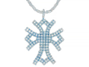 Blue Aquamarine Rhodium Over Sterling Silver Necklace With Cross Enhancer Pendant