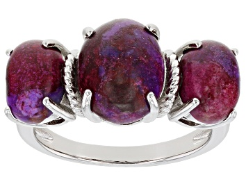 Picture of Purple Turquoise Rhodium Over Sterling Silver 3-Stone Ring