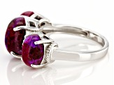Purple Turquoise Rhodium Over Sterling Silver 3-Stone Ring