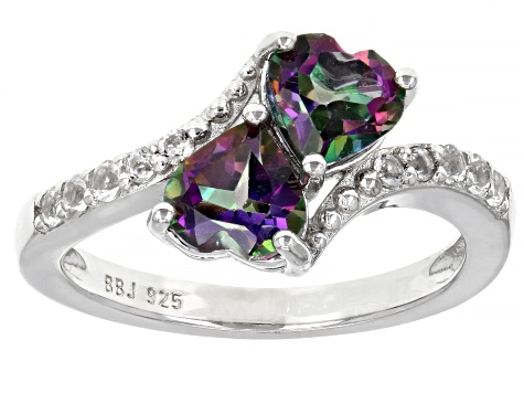 Green Topaz Rhodium Over Sterling Silver Bypass Ring 1.76ctw