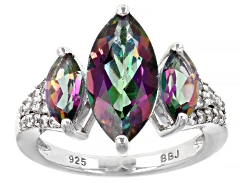 Picture of Green Mystic Fire® Topaz Rhodium Over Sterling Silver Ring. 4.19ctw.