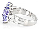 Blue Tanzanite Rhodium Over Sterling Silver Ring 1.32ctw
