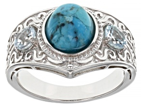 Blue Turquoise Rhodium Over Sterling silver Ring 0.54ctw