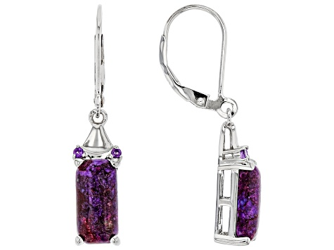 Purple Turquoise Rhodium Over Silver Earrings 0.05ctw