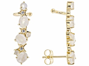 White Rainbow Moonstone 18k Yellow Gold Over Silver Earrings Climbers 0.10ctw