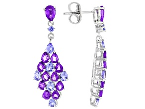 Blue Tanzanite  Rhodium Over Sterling Silver Earrings 4.61ctw