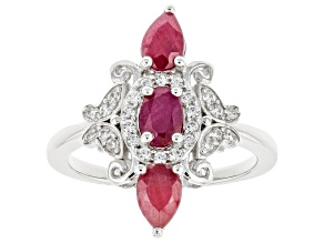 Red Ruby Rhodium Over Sterling Silver Ring 1.92ctw
